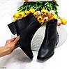 Стильні лаконічні чорні ботильйони жіночі черевики на низькому фігурному підборі, фото 10
