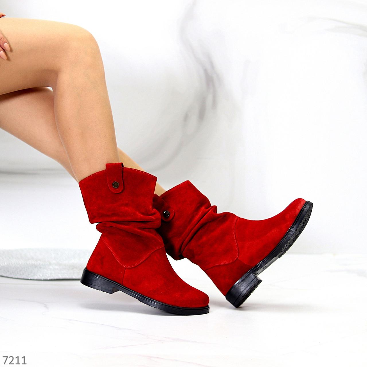 Удобные яркие красные замшевые женские сапоги низкий ход натуральная замша