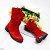 Удобные яркие красные замшевые женские сапоги низкий ход натуральная замша, фото 6