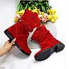 Удобные яркие красные замшевые женские сапоги низкий ход натуральная замша, фото 10