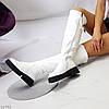 Эффектные удобные белые зимние высокие женские сапоги ботфорты, фото 6