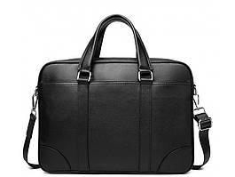 Модна чоловіча шкіряна сумка для документів чорна Tiding Bag RB-018 чоловічі портфелі