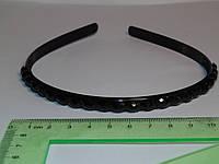 Обруч тонкий черный 0,8 см , черные камни