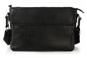 Классическая мужская черная кожаная сумка Tiding Bag SM8-9824-1A