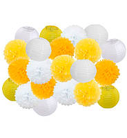 "Праздничный декор ""Yellow and white"" набор 21 шт, размер - 25 см"