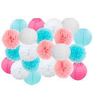 """Праздничный декор """"Blue and pink"""" набор 21 шт, размер - 25 см"""
