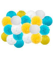 "Праздничный декор ""Yellow and light blue"" набор 21 шт, размер - 25 см"
