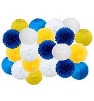 """Праздничный декор """"Yellow and blue"""" набор 21 шт, размер - 25 см"""