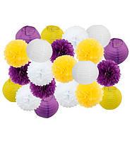 "Праздничный декор ""Yellow and purple"" набор 21 шт, размер - 25 см"