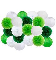 "Праздничный декор ""White and green"" набор 21 шт, размер - 25 см"
