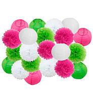 """Праздничный декор """"Pink and green"""" набор 21 шт, размер - 25 см"""