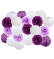 "Праздничный декор ""Purple and white"" набор 21 шт, размер - 25 см"