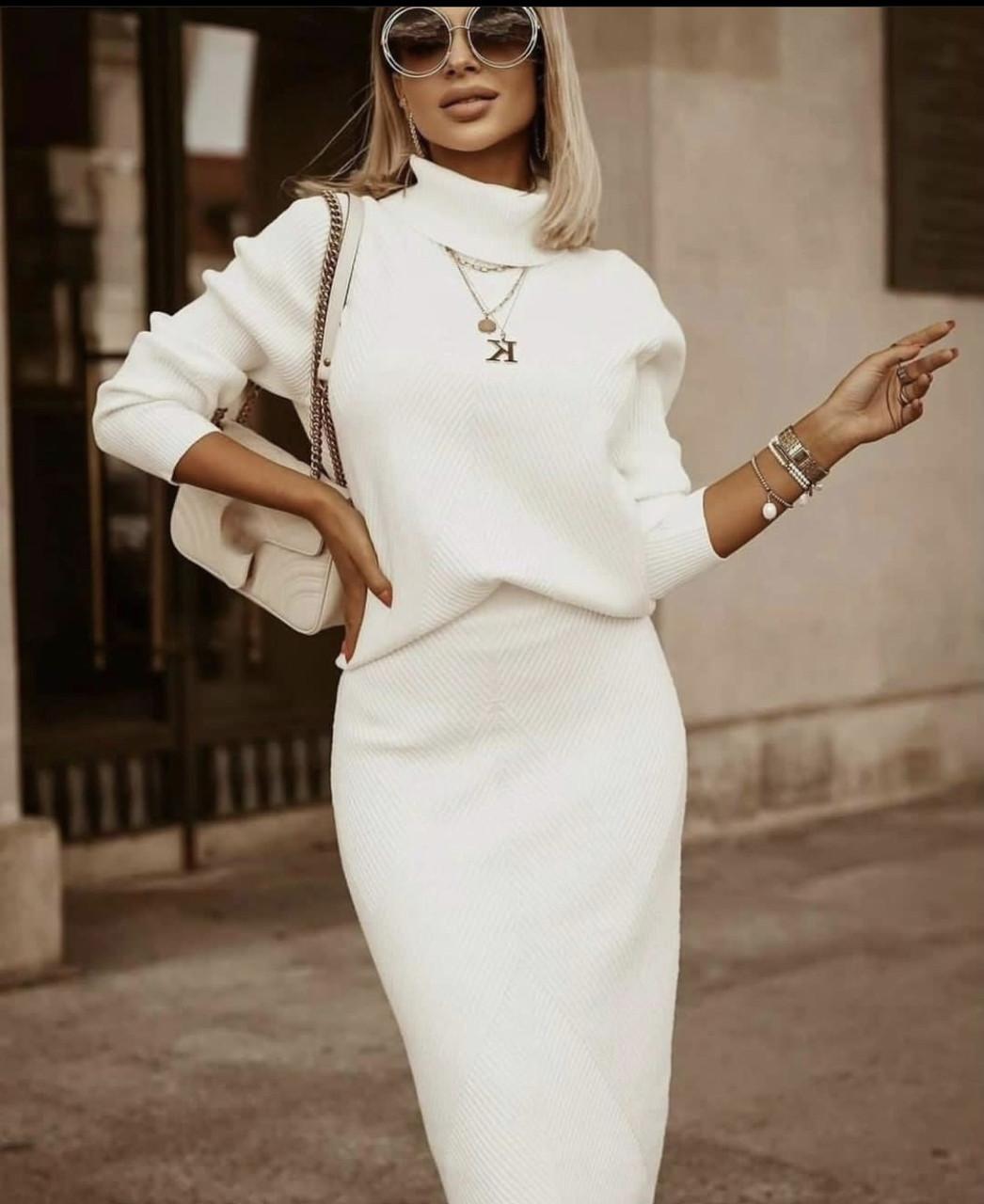 Трикотажний білий теплий костюм з спідницею Туреччина люкс