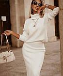 Трикотажний білий теплий костюм з спідницею Туреччина люкс, фото 3