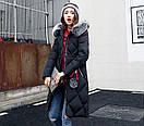 Чорна зимова куртка жіноча довга тепла пуховик з капюшоном розмір 50, фото 2
