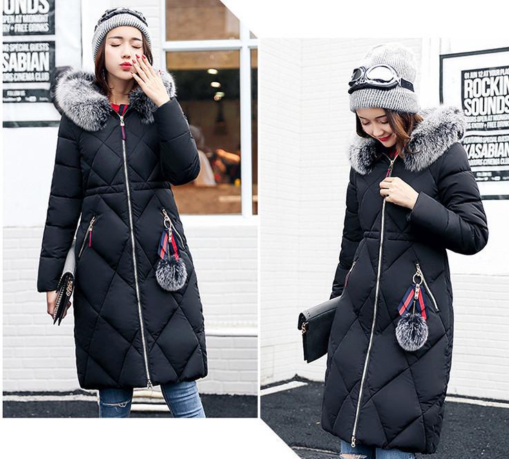 Чорна зимова куртка жіноча довга тепла пуховик з капюшоном розмір 50