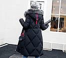 Чорна зимова куртка жіноча довга тепла пуховик з капюшоном розмір 50, фото 3