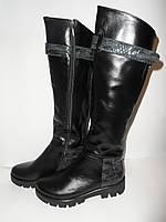 Удобные модные стильные черные кожаные осенние сапоги, а.821чер