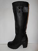 Удобные модные черные осенние сапоги из натуральной кожи, а.816чер