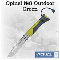 Opinel N°8 Outdoor Green, карманный складной нож со свистком