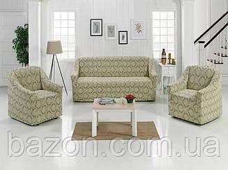 Чохол на диван і два крісла Жаккард Кавовий Туреччина 50206
