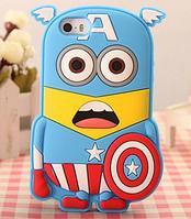 Силиконовый чехол Миньон Капитан Америка для Iphone 4/4S