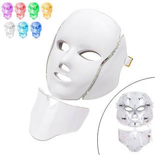 LED маска для фотодинамічної і мікрострумової терапії для обличчя та шиї 7кол