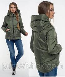 Жіноча демісезонна куртка кольору хакі розмір 42-52