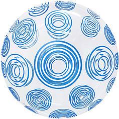"""Бабл 20"""" КИТАЙ-КТ Кристалл прозрачный - голубые круги"""