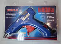 Пистолет клеевой маленький с кнопкой, под клей 7 мм, синий