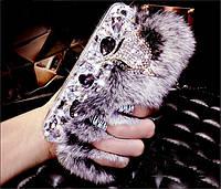 Чехол для iPhone 4/4s/5/5s/6/6 Plus/7/7plus/8/8plus меховой рекс с лисицей и с камнями Swarovski