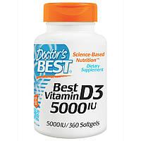 Витамин Д3, Doctor's Best, 5000 МЕ, 360 капсул