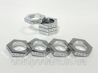 Кільце чоловіче антистрес складне шестикутне колір срібло код 35-0110