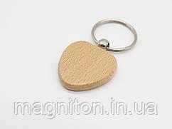 Брелок для гравировки деревянный Сердце 40х40мм. Заготовка