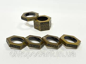 Кільце чоловіче антистрес складне шестикутне колір золото код 35-0111