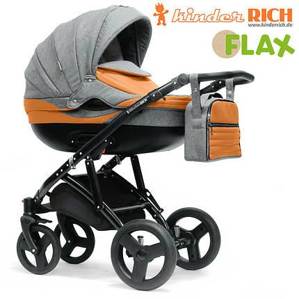 Коляска универсальная KINDER RICH 2в1 Blaze Flax (Grey) серый, фото 2