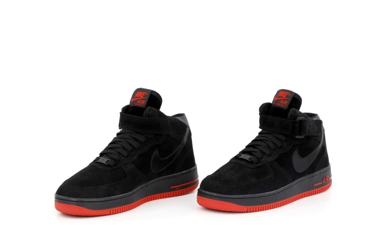 Чоловічі кросівки Nike Air Force високі (чорні з червоним) К12701 жіночі демісезонні кроси
