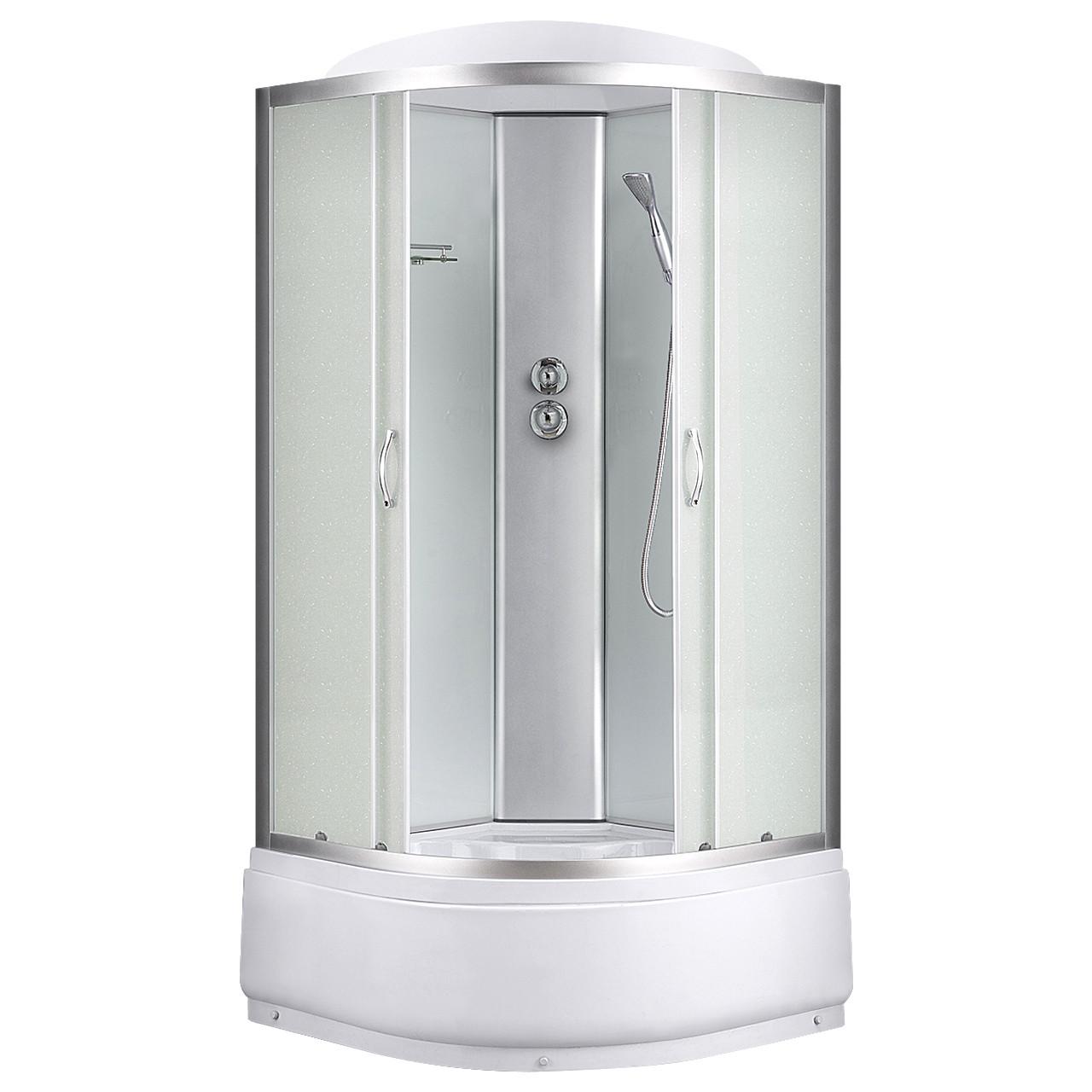 6690A, Sansa, гидробокс, 90 х 90 см, рама сатин, стекло матовое, заднее стекло белое