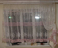 Комплект тюль с штокой до подоконника с розовой оборкой, фото 1