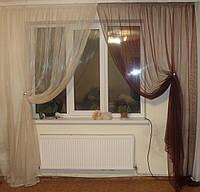 Комплект тюль Нежность бордо с бежем, фото 1