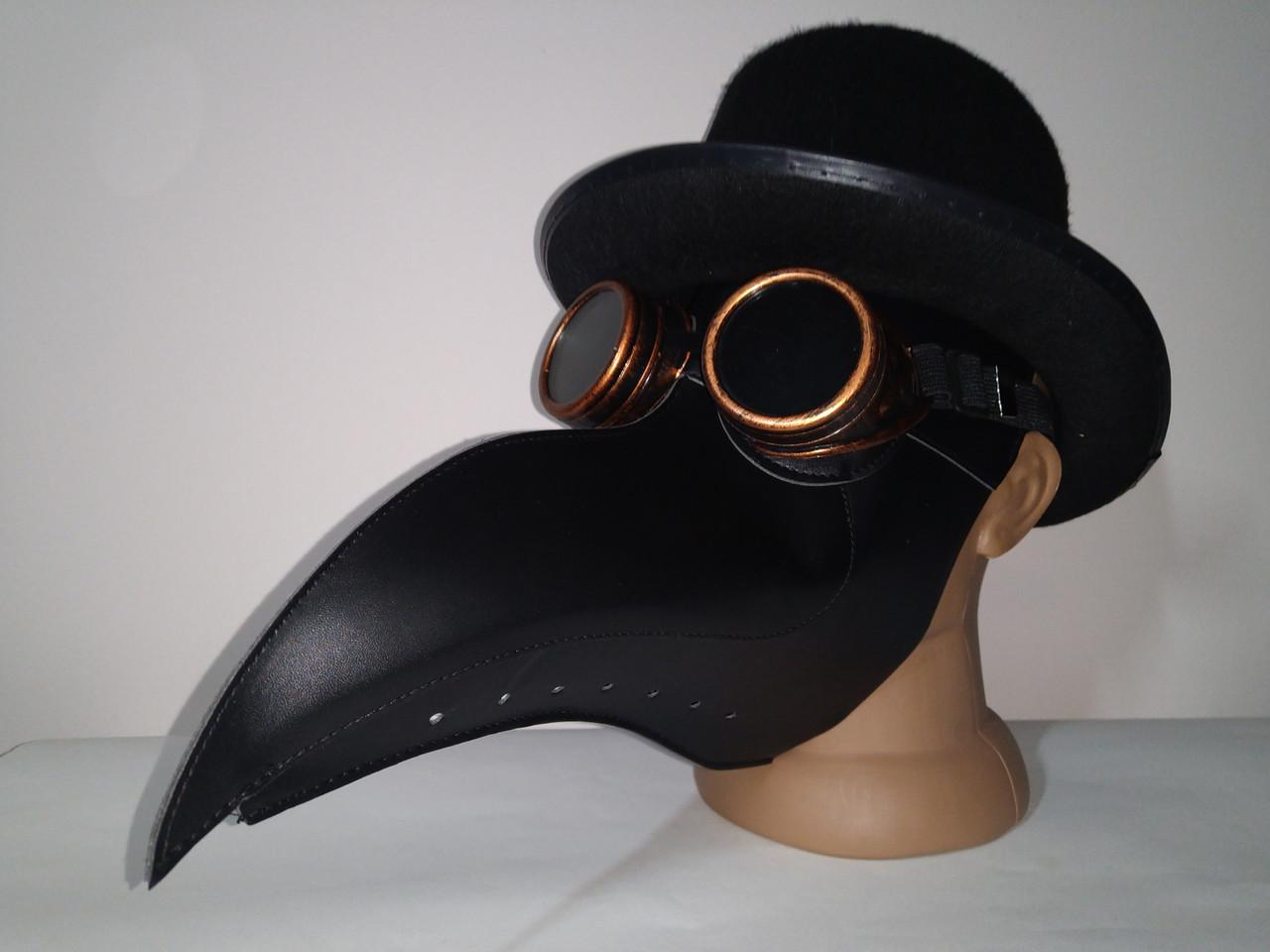 Набор чумной доктор маска в цилиндре с очками гогглы