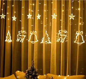 Гирлянда занавес звезды + новогодние фигурки ширина 2.5м высота 1м 138Led 8 режимов  с переходником