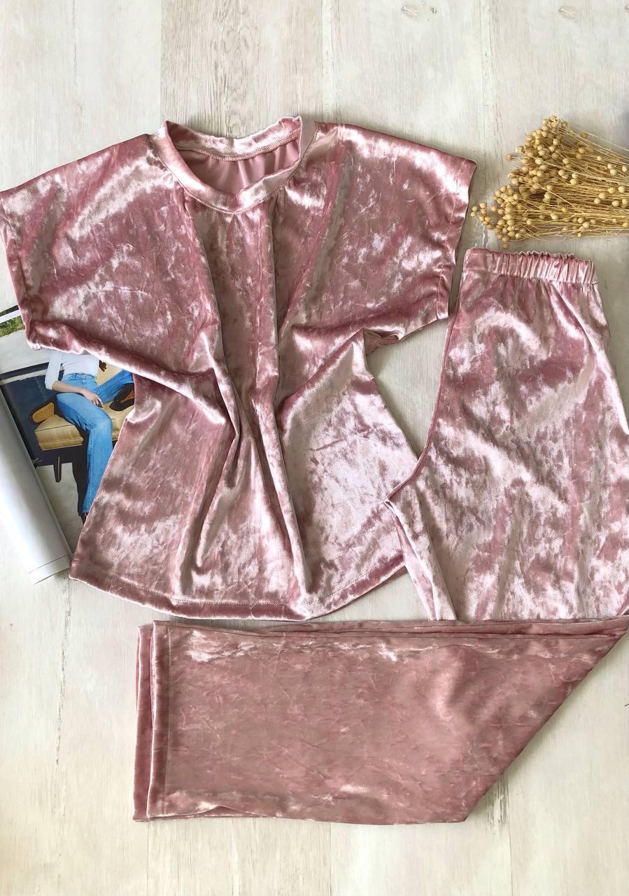 Велюрова піжама штани і футболка