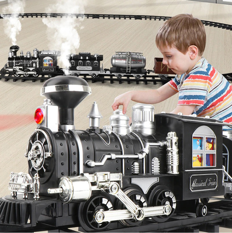 """Детская железная дорога """" Classical Train """",паровоз на пульт управлении,дым, звук, подсветка,207 см."""