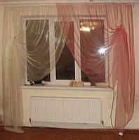 Комплект тюль Нежность роз с  бежем, фото 1
