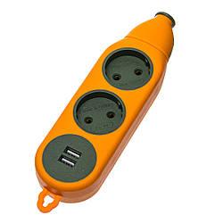 """Колодка """"Advanced"""" під подовжувач на 2 гнізда + 2*USB 16А-220V"""