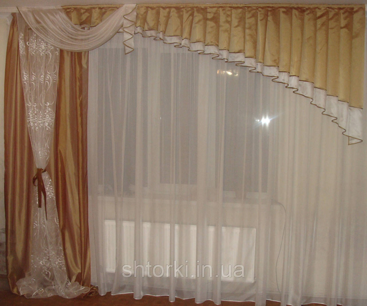 Ламбрикен Ассиметрия  с шторой 3м Органза коричн