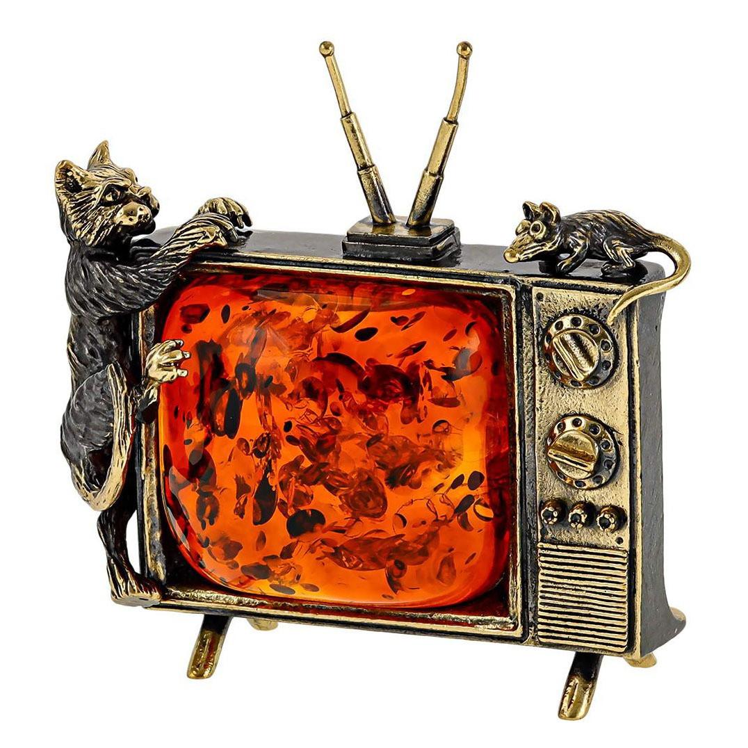 Фігурка з бронзи з бурштином мініатюра Кіт на телевізорі ловить мишку