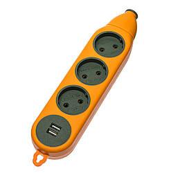 """Колодка """"Advanced"""" під подовжувач на 3 гнізда+USB, Двосторонній 16А-220V"""