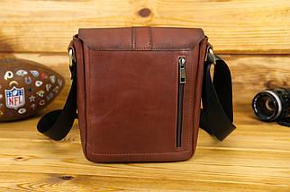 Кожаная мужская сумка Уильям, натуральная кожа итальянский Краст цвет коричневий, відтінок Вишня, фото 3